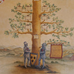 Detail of ancient miniature-illustrated Code with the Pignatelli family tree