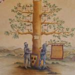Codice miniato raffigurante l'albero genealogico della famiglia Pignatelli, particolare